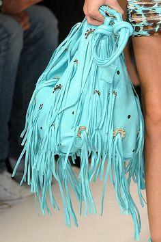 Blumarine at Milan Fashion Week Spring 2011 - Details Runway Photos Shades Of Turquoise, Teal, Aqua, Fashion Bags, Boho Fashion, Milan Fashion, Design Bleu, Artist Bag, Fru Fru
