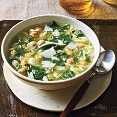 Spinach, Pasta, and Pea Soup - Quick, 20-Minute Soup Recipes - Cooking Light