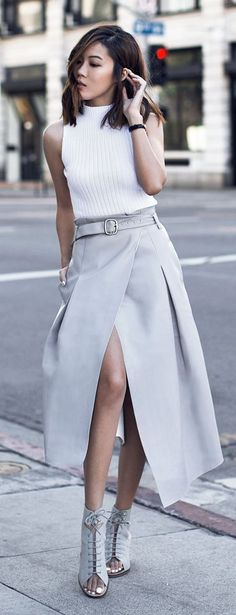 Grey Leather Wrap Skirt | You can found this at => http://feedproxy.google.com/~r/amazingoutfits/~3/S2y5swzT4vk/photo.php