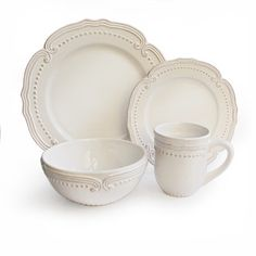 Victoria White Dotted 16-piece Stoneware Dinnerware Set | Overstock.com Shopping - Great Deals on Casual Dinnerware