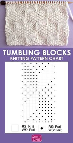 This Tumbling Moss Block Stitch Knitting Pattern creates an illusion with 3 various textured patterns with a Repeat of knits and purls. This Tumbling Moss Block Stitch Knitting Pattern creates an illusion with. Knitting Stiches, Knitting Charts, Loom Knitting, Knitting Patterns Free, Knit Patterns, Free Knitting, Stitch Patterns, Knit Stitches, Summer Knitting