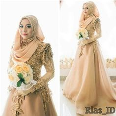 muslimweddingideasThe #hijabibride is looking elegant in gold ♥