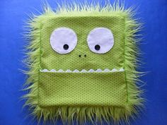 Monster Rice Bag Cover, great for colds (The pattern calls for 2 1/2 cups of rice. Before you put the rice in the bag, stir in 20 drops of eucalyptus oil and 20 drops of rosemary oil. )