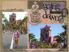 Tower of Terror Vacation Scrapbook, Disney Scrapbook Pages, Scrapbooking Layouts, Disney Love, Disney Mickey, Walt Disney, Disney Ideas, Disney Wishes, Disney Cards