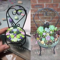 Making a mini version of my succulent chair, very time consuming made out of polymer clay. #polymerclay #succulent #succulents #echeveria #chairplanter #succulentchair #planter #art #replicate #mini #colourful #craft #instagram #clay #claycreation #succuholic #polymerclayart #replica #garden #gardening #succulentsofinstagram #crafty #craftsposure