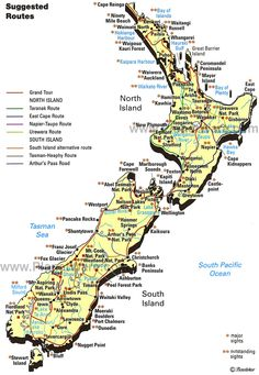 Map of New Zealand.I love south island, went on a Class rapids there! Map Of New Zealand, New Zealand South Island, New Zealand Travel, Tasmania, Auckland, New Zealand Population, Islas Cook, Abel Tasman, Geography