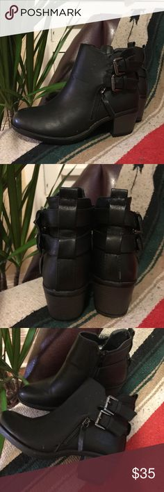 Black Buckle Ankle Boots Comfortable & stylish ankle boots. These boots have an add cute feature of buckles on the front to the back. Perfect for work or causal days. 💥OFFERS ACCEPTED💥 (Don't be hesitant to message!)  ALSO:  ▪️Items are hand-washed ▪️Items are always new, in good condition  ▪️Items are described as listed, no returns.  ▪️Free shipping w/ purchase via PayPal (message how) Vintage Shoes Ankle Boots & Booties