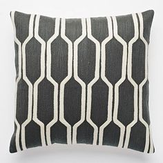 Honeycomb Crewel Pillow Cover - Slate, also comes in navy, pale gray, light blue, navy blue, yellow...