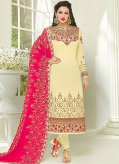 Paramount Embroidered Work Faux Georgette Cream Designer Suit Indian Ladies Dress, Indian Dresses, Indian Clothes, Latest Salwar Kameez Designs, Kurti Neck Designs, Kurti Sleeves Design, Sleeves Designs For Dresses, Designer Suits Online, Designer Salwar Suits