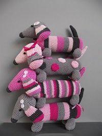 Crochet Dachshunds.