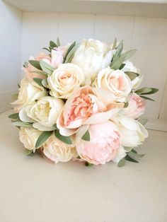 Elegant ivory and blush pink peony silk wedding bouquet.- Elegant ivory and blush pink peony silk wedding bouquet. Peony Bouquet Wedding, Blush Bouquet, Floral Wedding, Elegant Wedding, Trendy Wedding, Ivory Wedding, Classic Wedding Flowers, Beach Wedding Bouquets, Party