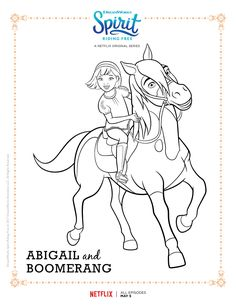 Spirit Riding Free Abigail And Boomerang Coloring Page