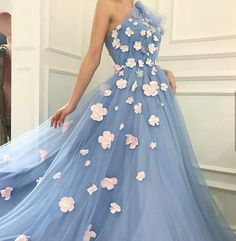 Charming One Shoulder, Tulle Prom Dress ,Applique Prom Dresses ,A-Line Long Evening Dresses ,Prom Gowns, Tulle Prom Dresses Cheap,Long Party#promdress#graduationdress#eveningdress#dress#dresses#gowns#partydress2018#longpromdress