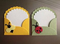 Little lady bug and bumble bee note cards and envelopes. how sweet are these? Tarjetas Diy, Bee Cards, Envelope Art, Candy Cards, Greeting Cards Handmade, Handmade Greetings, Scrapbook Cards, Homemade Cards, Cardmaking