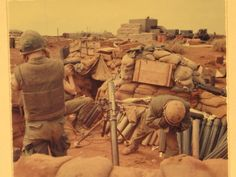 Fire mission! 81 MM mortar crew firing at the NVA, 15Mar1968, at the Siege of…