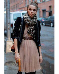 Nude dress, leopard scarf, brown belt & leather  jacketStreet Chic - New York Fashion Week Looking Lady