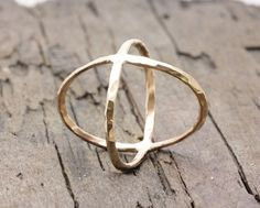 Gold filled hammered criss cross ring, x ring, modern cross ring, statement ring, crisscross ring by WDUniqueDesigns on Etsy https://www.etsy.com/listing/206923077/gold-filled-hammered-criss-cross-ring-x