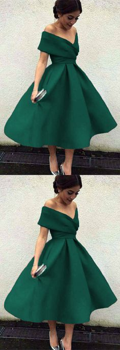 Vintage 1950s Style V-neck Off The Shoulder Tea Length Ball Gowns Party Dresses For Prom Homecoming