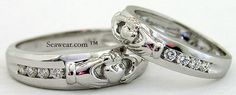 Matching custom made Irish Claddagh wedding bands with total diamonds. Been searching for perfect matching Claddagh wedding bands in gold, white gold, rose gold or platinum? Irish Wedding Rings, Matching Wedding Rings, Diamond Wedding Rings, Wedding Ring Bands, Diamond Engagement Rings, Irish Jewelry, Vintage Diamond, Vintage Engagement Rings, Ring Designs