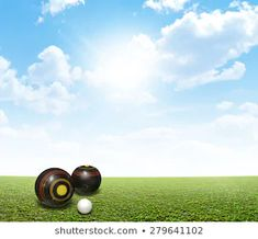 A set of wooden lawn bowls next to a jack on a perfect flat green. Lawn, Bowls, Green, Image, Graphics, Sport, Illustrations, Serving Bowls, Deporte