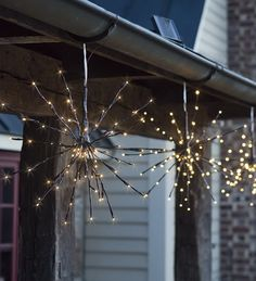 hanging solar twig lights solar twig starburst lights set of brown metal twigs with warm white led lights - Modern Outdoor Christmas Decorations