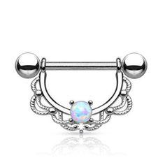 Opal Centered Filigree Drop 316L Surgical Steel Nipple WildKlass Rings (Sold by Piece)-WildKlass Jewelry
