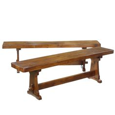 Traditional Elm Trestle Pair Dining Table Seats Benches