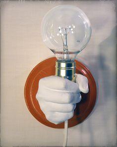 Hand Holding Bulb Wall Lamp (Orange) - KaraGunter Sculpture and Art Prints (Etsy)
