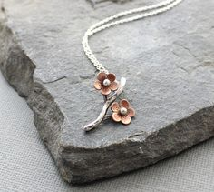 Cherry Blossom Branch Pendant Sakura necklace Spring by HapaGirls, $44.00