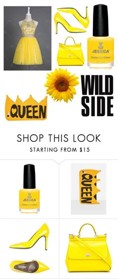 """slaying in yellow"" by churchgirl1205 ❤ liked on Polyvore featuring Missguided, Gianmarco Lorenzi and Dolce&Gabbana"