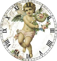 Roman Numerals with cerub Paper Clock, Clock Art, Diy Clock, Clock Face Printable, Shabby Chic Clock, Victorian Angels, Decoupage Paper, Vintage Crafts, Vintage Images