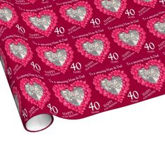 Parents ruby wedding anniversary photo year wrap wrapping paper