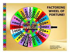 Factoring Polynomials Wheel of Fortune - A fun way to review all types of factoring.  The wheel really spins! :)