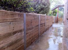 Timber Wood Retaining Wall Construction