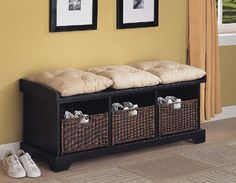 #The Lowest Prices hemnes storage bench Coaster Entryway Bench with Storage Baskets and Cushions, Black