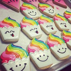 Girly rainbow cupcake cookies by Hayleycakes and cookies