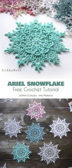 Ariel Snowflake Free Crochet Pattern This pattern may looks complicated, but it has only only 8 rounds! Ariel Snowflake Free Crochet Pattern This pattern may looks complicated, but it has only only 8 rounds! Thread Crochet, Crochet Motif, Crochet Crafts, Crochet Doilies, Crochet Flowers, Crochet Stitches, Crochet Projects, Crochet Coaster, Crochet Shawl