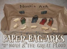 Paper Bag Noah's Ark Craft ~ Children will love learning the story of Noah and the Great Flood, and creating an ark of their very own! ‪#‎christianitycove‬ http://www.christianitycove.com/bible-craft-paper-bag-arks/4000/