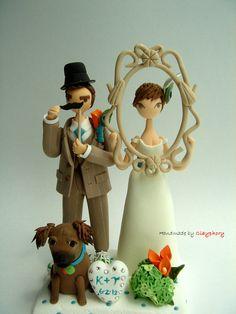 Funny Funny -Customised Wedding cake topper. $140.00, via Etsy.