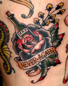 Really dig the traditional tattoo designs + the idea of 'never again' but maybe I'd have to change that bottle to a pill bottle