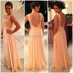 A-line Bateau Chiffon Floor-length Lace Prom Dresses