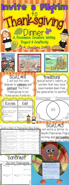 A Pilgrim has time-traveled to the present and students need to persuade him/her to join their family's Thanksgiving dinner! Students RESEARCH the First Thanksgiving and compare/ contrast their findings to their own family's traditions in a PERSUASIVE letter to a Pilgrim.