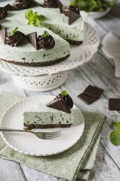 Delicious Desserts, Dessert Recipes, Yummy Food, Cheesecake, Mint Cake, Pastry Cake, Special Recipes, Creative Food, Food Pictures