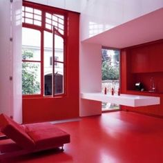"""Modern proof that """"less is more"""" envision your kitchen Red Kitchen, Kitchen Interior, Kitchen Ware, Painted Window Frames, Red Interiors, Elegant Homes, Design Consultant, Interior Inspiration, Interior Ideas"""