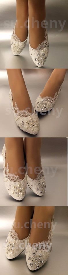 Wedding Shoes And Bridal Shoes: White Light Ivory Lace Pearls Crstal Flat Ballet Wedding Shoes Bridal Size 5-12 -> BUY IT NOW ONLY: $35.99 on eBay!
