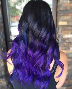 Ways to Wear Violet Hair Black To Purple Ombre Hair.Black To Purple Ombre Hair. Bold Hair Color, Hair Dye Colors, Ombre Hair Color, Ombre Hair Lavender, Ombre Hair Rainbow, Purple Hair Tips, Deep Purple Hair, Dark Purple Hair Color, Diy Ombre Hair