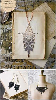 love the lace necklace, looks like an easy DIY