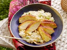 Grilled Chicken with Creamy Corn Risotto from CookingChannelTV.com. Just saw this on TV. Looks SO good.