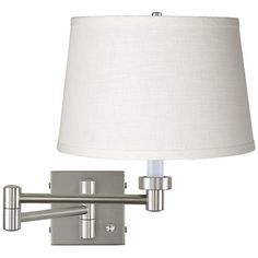 White Linen Shade Brushed Steel Swing Arm Wall Lamp - #20762-K4850 | LampsPlus.com