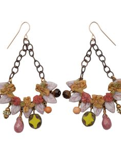 These dancing dangles swing with each step.  A wonderful assortment of fabric flowers and assorted glass bead form the half moon cluster that falls from a charcoal-plated chain